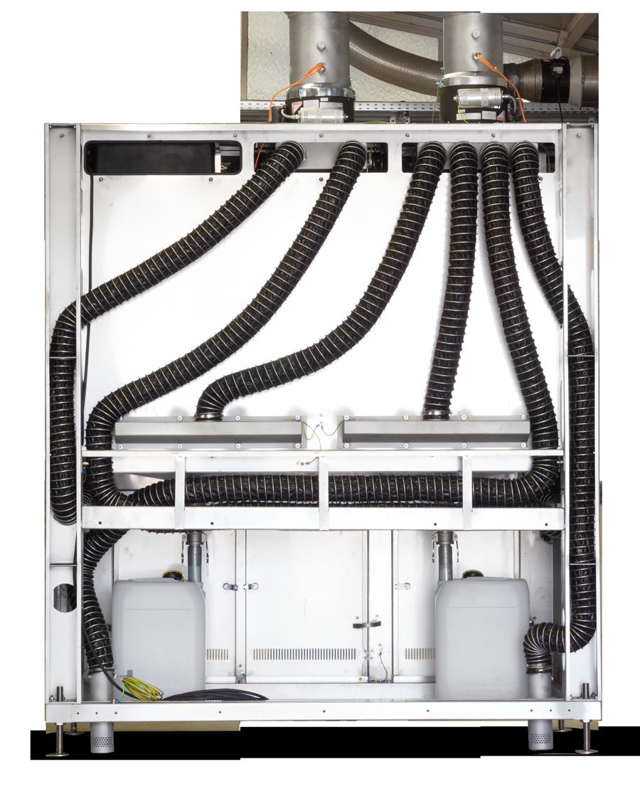 CleanLine Montagerückwand mit Anschlüssen, freien Zugängen zur Gebäudeintegration und Anschlüssen für Luft und Medien | Professionelle Reinigung und individuelle Reinigungslösungen