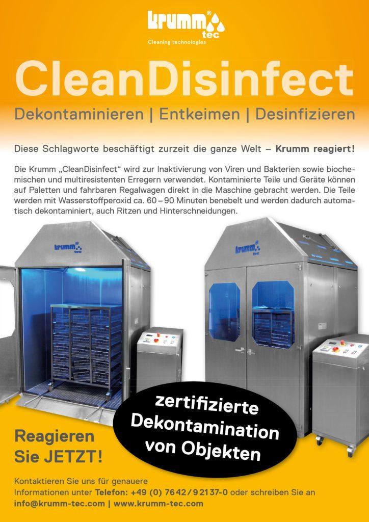 CleanDisinfect | Dekontaminieren | Entkeimen | Desinfizieren | Inaktivierung von Viren und Bakterien sowie biochemischen und multiresistenten Erregern