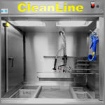CleanLine 2000 | spray lance/shower and compressed air pistol | basin variation: isopropanol basin, sodium bath, waste disposal and draining basin